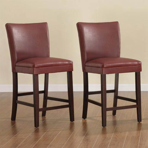 Elegant Kitchen Bar Stools: HomeHills Red 24-Inch Parson Bar Stools, Set Of Two